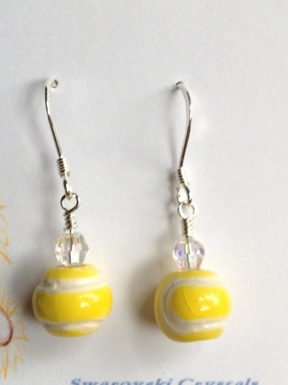 ceramic tennis earrings with swarovski crystals on