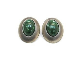 Vintage Green Earrings, Silver Tone, Pierced, Lucite, Green Speckled Cabochon