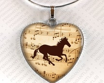 Music Horse Heart Pendant, Horse Jewelry, Horse Necklace, Birthday, Horse Lady Gift, Gifts for Girl, Horse Lover, Zebra Necklace