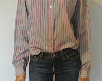 Vintage 1970s Button Down Blouse by Evan Picone Gray with Stripes/S/M