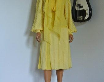 SALE James GALANOS Silk Chiffon Dress Yellow Drop Waist Pleated Designer S/M