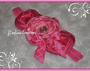 Gorgeous Hot Pink & Pink Rose Headband - Bow
