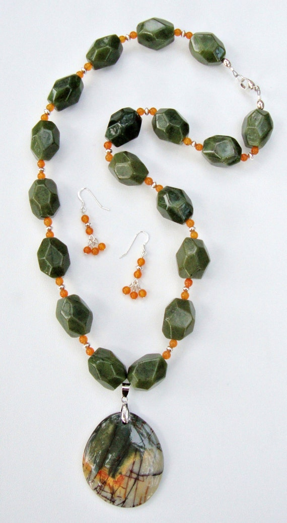 Jade and Quartzite Necklace & Earrings