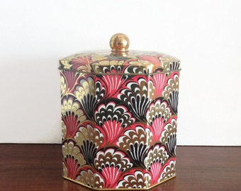Vintage English Abstract Gold Black Red Tin Canister and Lid with Gold Finial