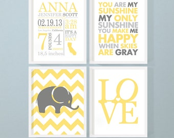 birth stats nursery decor with elephant love baby quote, nursery birth announcement, personalized baby stats, baby name art, new baby gift