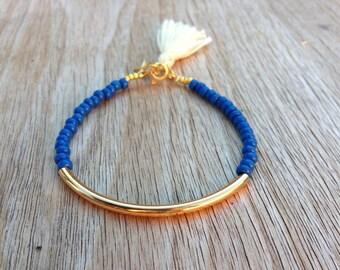 Gold tube bracelet, Beaded Bracelet, beaded bangle, tassel bracelet, Friendship bracelet, seed beads bracelet, seed beads bangle, blue beads