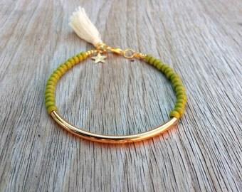 Gold tube bracelet, Beaded Bracelet, beaded bangle, tassel bracelet, Friendship bracelet, seed bead bracelet, olive green green beads