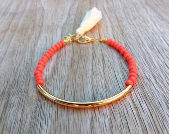 Gold tube bracelet, Beaded Bracelet, beaded bangle, tassel bracelet, Friendship bracelet, seed bead bracelet, seed beads bangle, coral beads