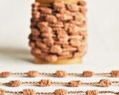 Mini Pom Pom Garland in Walnut Brown - 6 Yards - Kraft Natural Taupe Novelty Twine Vintage Ribbon Cord Trim Pompom Petite Pretty Party Decor