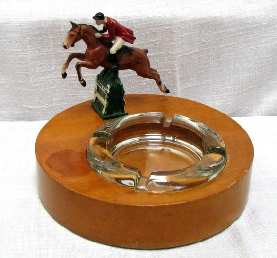 Vintage Fox Hunt Cast Iron Figural Ashtray Horse Rider