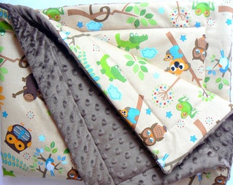reversible minky blanket, baby blanket,toddler,minky blanket,brown minky,fits to a crib or a stroller