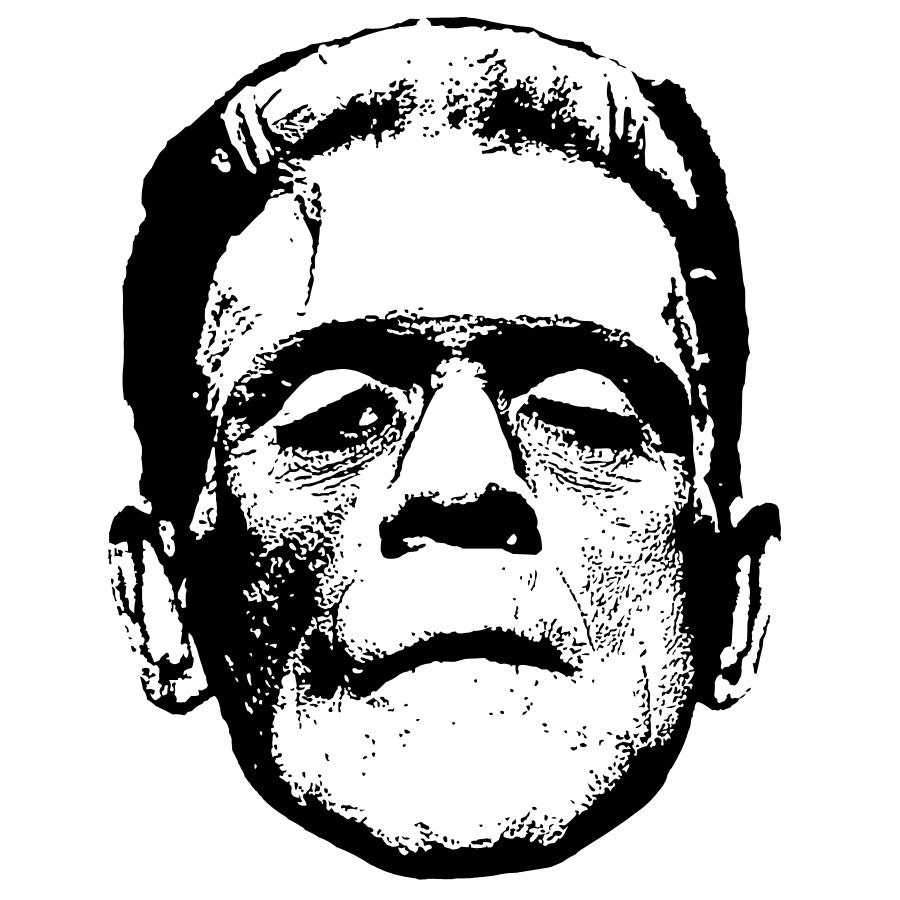 the gallery for gt black and white frankenstein face clipart