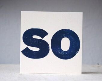 Vintage Wood Block SO Handprinted Notecard with envelope