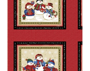 SALE!! One Panel Winter Wishes - Snowman Panel in Taupe and Red Cotton Quilt Fabric - Michele D'Amore - Benartex Fabrics (W362)
