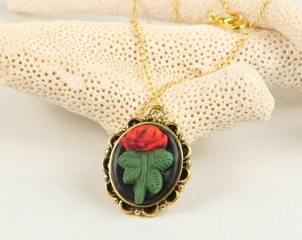 Handmade polymer clay necklace with rose