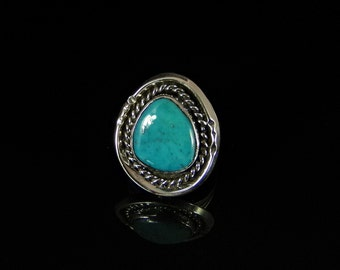 Turquoise Ring Sterling Silver Handmade Size 5.0, R0189
