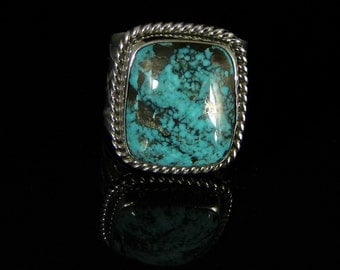 Turquoise Mens Ring Sterling Silver Handmade Size 13.0, R0210