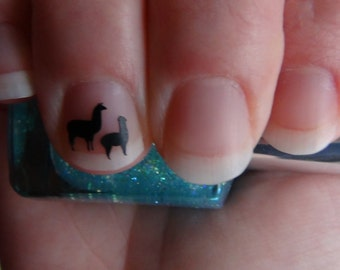 Llamas Size SMALL Nail Art Decals Set of 20 Alpacas Vinyl Stickers Applique Manicure Pedicure Party Gift Stocking Stuffers