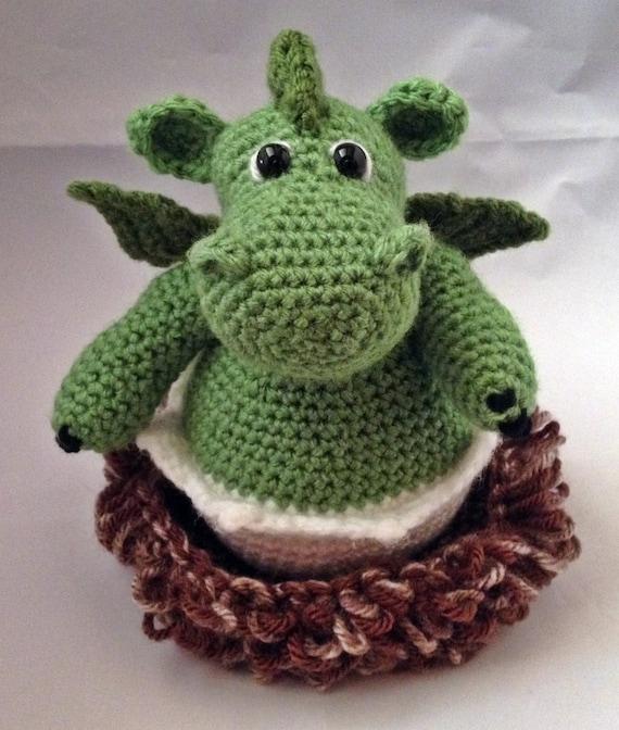 Amigurumi Dragon Egg : Crochet Amigurumi Baby Dragon in the Nest by GrapeVigneCrochet