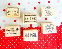 Air Mail Stamps. Letter Stamps. World Stamp. Wooden Stamp. Rubber Stamp. Scrapbooking.