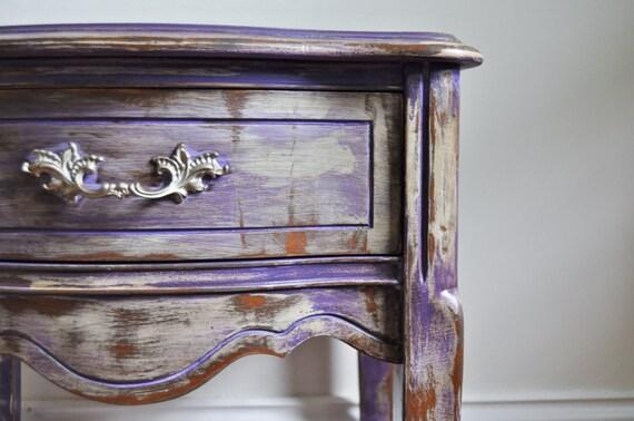 Gypsy Purple Chalk Painted Bohemian Nightstand Rustic