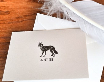 Personalized Fox Stationery Set of 10 - 300, 100% cotton savoy, Stationery for Men