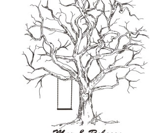 ThumbPrint Fingerprint  Signature Wedding Tree Guest Book Alternative / Gift / Swing Love Birds