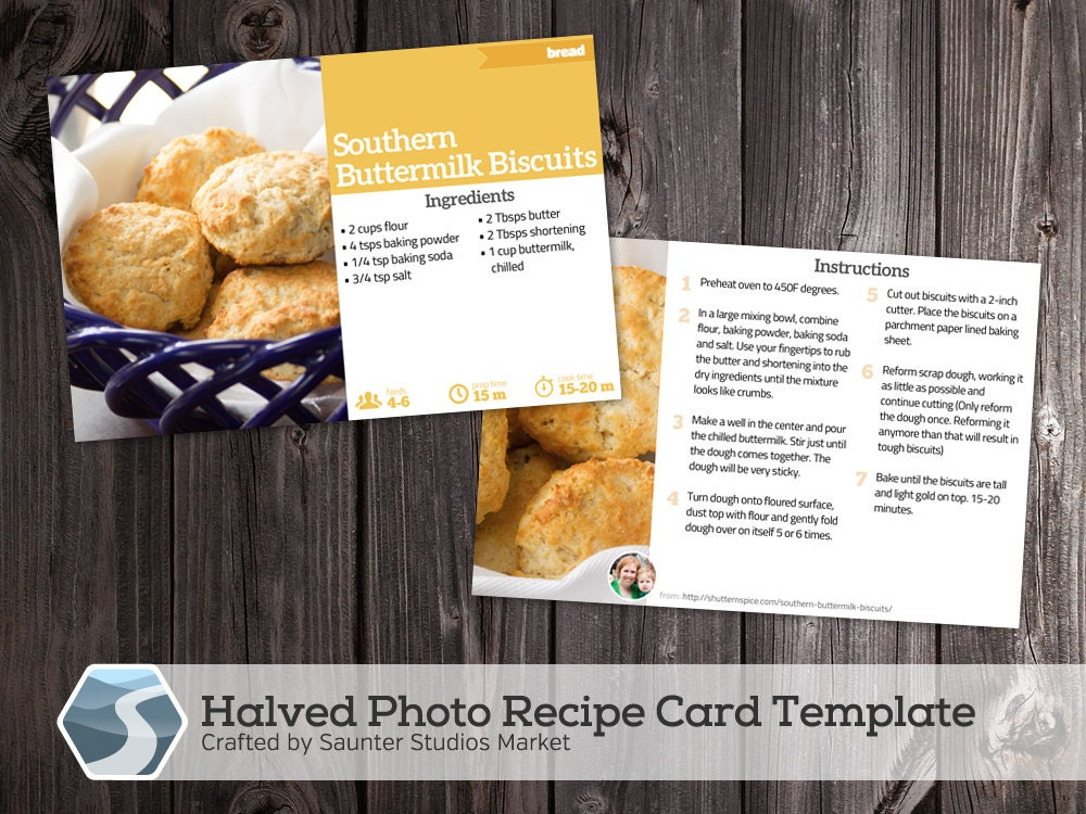 halved photo recipe card 4x6 printable photoshop template