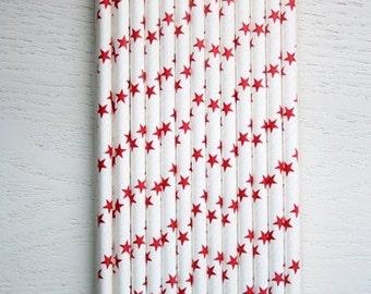 25 Paper Straws - Red Stars