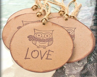 Love Owl Gift Tags Handmade Rustic Neutral Set of Six Christmas holiday winter