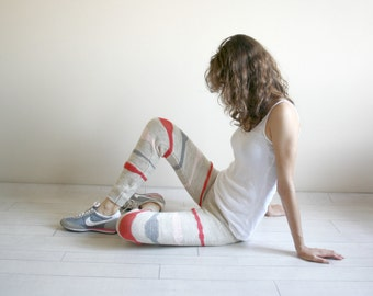 Beige Knitted Stretch Colorful Striped Tight  Pants Leggings Legwarmer