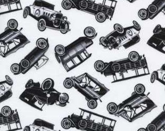Car Fabric - Black Antique Mini Cars on a White Background - Timeless Treasures - C9907 - 1/2 yard