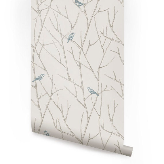 Branch Birds Blue Peel Amp Stick Fabric Wallpaper By Accentuwall