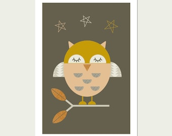Little Owl Nursery Art, Kids Wall Art, Modern Nursery Decor, Modern Nursery Art, Modern Kids Room Art.
