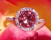 Pink Spinel Engagement Ring, Precision Cut Burmese Peachy Pink Spinel, White Gold Diamond Halo Engagement Ring