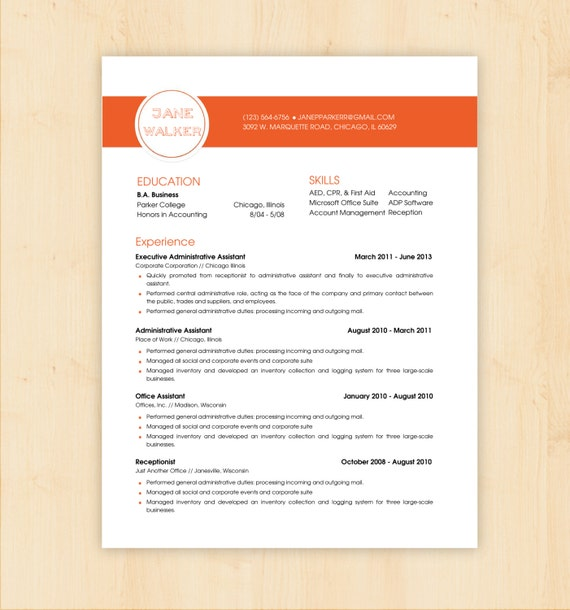 Resume Template / CV Template The Jane Walker Resume By PhDPress