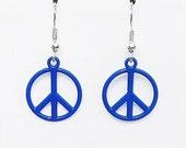 Surgical Steel Earrings, Peace Sign Earrings, Peace Sign Jewelry, Blue Earrings, Charm Earrings