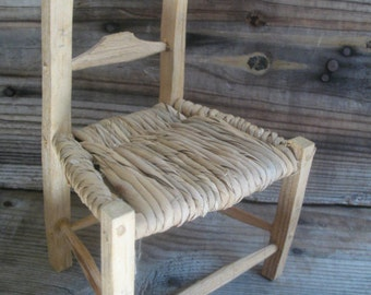 Doll Chair Woven Seat Small Rustic Toy Chair
