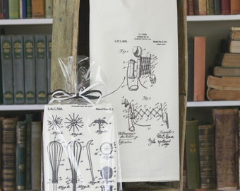 """Traditional Flour Sack Dishtowel with your choice of Vintage Patents (30""""x30"""", 100% cotton, individually wrapped)"""