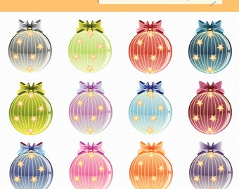 Christmas Balls Clipart. Christmas Ornaments Clipart. New Year Balls Clipart Christmas Digital Images. 048