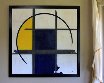 """Modern oil painting """"GEO"""" with frame"""
