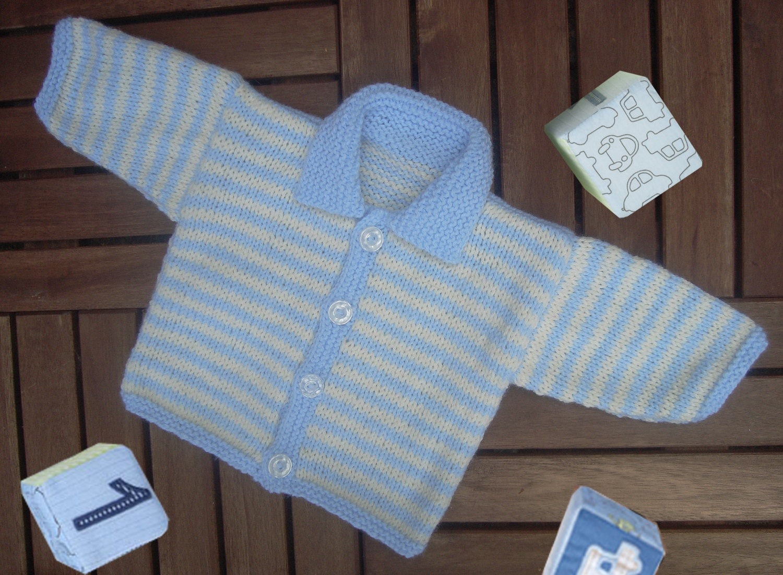 Knitting Pattern Striped Cardigan : Baby Boy Stripe Cardigan. PDF Hand Knitting Pattern.
