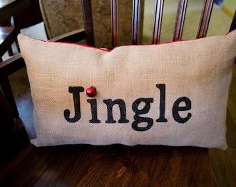 Burlap Christmas Pillow, Holiday Pillow, Fun Christmas Pillows, Decor, Santa Decor, Throw Pillow, Winter Pillow, Rustic Christmas Decor