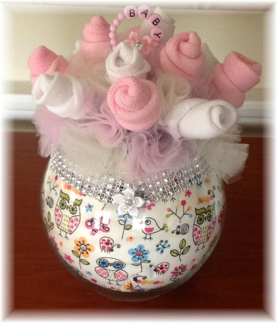 Items similar to Baby Sock Bouquet – Owl – Pink – Baby