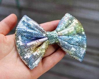 """4"""" multicolored shiny sequin hair bow, bow hair clip, fabric hair bow, teens hair bow, girls hair bow, women hair bow, Fairy Kei, hairbows"""