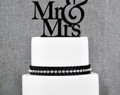 Mr and Mrs Wedding Cake Toppers, Elegant Traditional Topper, Customizable Ampersand with Mr and Mrs with Choice of Color and Glitter (S001)