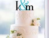 Monogram Wedding Cake Topper, Custom Two Initials and Ampersand Topper, Personalized Engagement Gift, Initial Monogram Wedding Topper (S053)