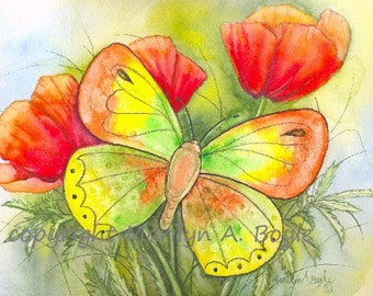 ACEO LIMITED EDITION Card; run of 10, watercolor butterfly and poppies; nature, garden, flowers, red and yellow color