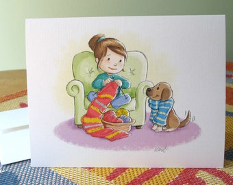 Knit with Dog note cards with envelopes / 6 cards, blank inside / cute best friends / original art by Kathe Keough