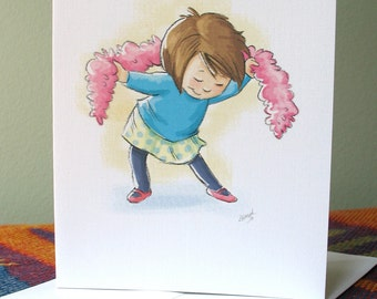Dance - Take a Bow note card with envelope / blank inside / cute girl with feather boa / by Kathe Keough